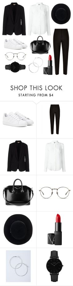 """Birthday outfit"" by hellennaa ❤ liked on Polyvore featuring adidas, Jaeger, Maesta, Moschino, Givenchy, Linda Farrow, Eugenia Kim, NARS Cosmetics and CLUSE"
