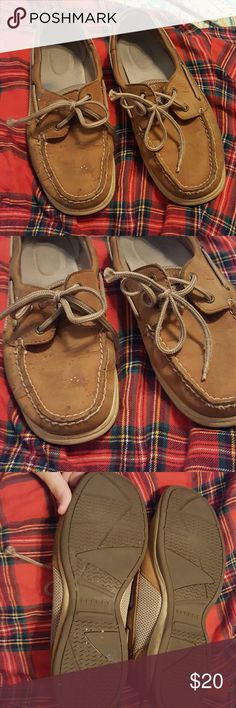Sperrys PLESE READ BEFORE PURCHASING!!  These are authentic sperrys & will be priced low because they have several stains as picture! They still have a TON of life left in them just very stained as one morning i spilt coffee creamer everywhere. I will try to clean before i ship off! Sperry Shoes Flats & Loafers
