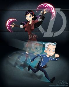 Disney/Marvel Crossover: Dash and Violet Parr from the Incredibles turned into Quicksilver and The Scarlet Witch, from the Avengers (movie style)- Violet Witch and Silver Dash Humour Disney, Disney Memes, Disney And Dreamworks, Disney Pixar, Disney Characters, Disney Fan Art, Disney Fun, Univers Marvel, Disney Films