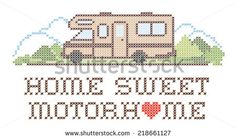 Home Sweet Motor home with a big heart, retro cross stitch needlework sewing design, Class C model recreational vehicle in landscape, road and mountains, isolated on white background. EPS8.