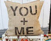 You + Me Burlap Pillow #chevron #zigzag