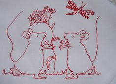 Mice redwork Embroidery | Flickr - Photo Sharing!