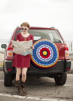 "Pattern for ""Spare Tire Cosy"" in July/August Crochet Today...I've seen these before but never one so colorful!"