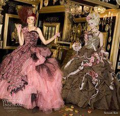 Sugar Kei colorful ballgown western wedding dresses in pink and Sweet Wedding Dresses, Western Wedding Dresses, Princess Wedding Dresses, Bridal Gowns, Wedding Gowns, Off White, Rococo Fashion, Fantasy Gowns, Fantasy Party
