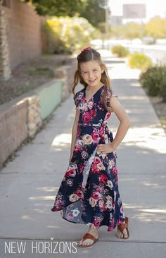 New Horizons Designs - Boardwalk Wrap Dress Girls Dresses Sewing, Girls Maxi Dresses, Stylish Dresses For Girls, Frocks For Girls, Little Girl Dresses, Cute Dresses, Girls Fashion Clothes, Girl Outfits, Fashion Outfits