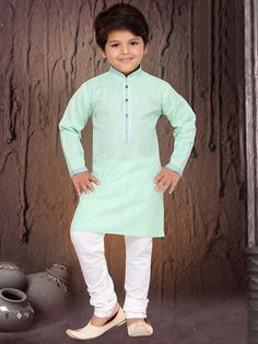 Cotton Silk Sea Green Kurta Suit