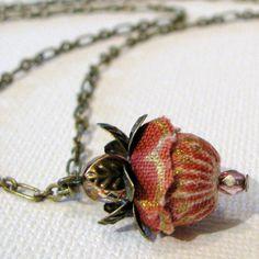 Fabric Flower Pendant Necklace WILD ROSE rose by kangas on Etsy, $18.00
