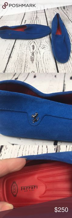 Tods for Ferrari Loafers Tods for Ferrari Blue Suede Shoes. Blue Suede Leather Uppers.Ferrari Medallion on the Outer Side.Red Leather Lining and Cushioned Footbed.Nubby Rubber Treading on Sole. Hardly ever worn which you tell from the sole picture Tod's Shoes Loafers & Slip-Ons