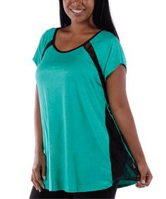 Look what I found on #zulily! Jade Lace Scoop Neck Top - Plus by Yummy #zulilyfinds