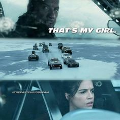 That's my girl. Fate Of The Furious, Fast And Furious, Awesome Movies, Good Movies, Dom And Letty, Fast 8, Furious Movie, Ride Or Die, Vin Diesel