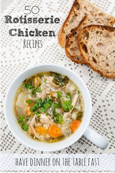 50 Rotisserie Chicken Recipes for easy meals on bust weeknights. Grab a rotisserie chicken from your local grocery store and have a stress-free dinner on the table in no time. The soup recipes are my favorite!