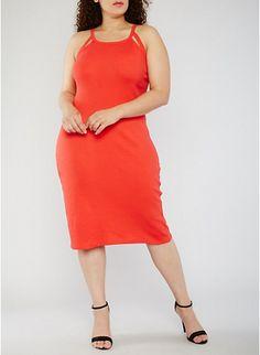 Plus Size Rib Knit Tank Dress with Cutouts,TOMATO