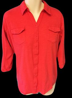 Womens Plus 3x Knit Top Paprika color Button Down Ribbed Sides #Avenue #KnitTop #Casual