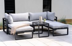 Santorini – Lounge Set with Side Cushions –Grey Modern Garden Lounge Sets - Garden Furniture - Out a Modern Garden Furniture, Diy Outdoor Furniture, Design Furniture, Furniture Decor, Lounge Sofa, Sofa Set, Plywood Furniture, Garden Sofa, Lounge Areas