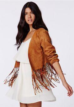 Ivona Fringed Faux Suede Jacket - Coats & Jackets - Missguided $44.98