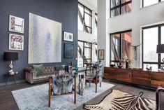 moderne wohnung schicke einrichtung pelzen hohe panoramafenster