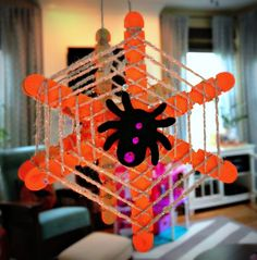 Kid Craft: DIY Glow in the Dark Spider Web by Little Pink Monster