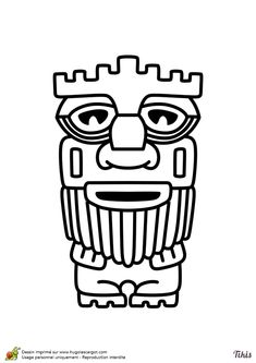 Dessin à colorier du Tiki barbu