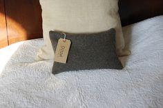 Small vintage grey wool army blanket cushion