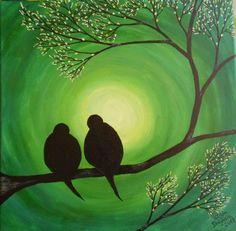 Tablou Primavara cu Porumbei Love Birds, Crafty, Paintings, Ideas, Love Sick, Paint, Painting Art, Draw, Painting