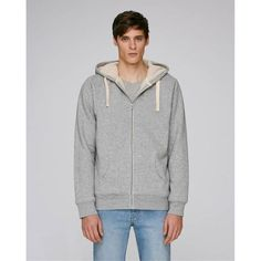 Sherpa Lined Organic Hooded Sweatshirt - Men - Heather Gray - menscut Tommy Hilfiger, Trendy Haircuts, Sherpa Lined, Nike, Mens Sweatshirts, Hooded Jacket, Heather Grey, Hoods, Sleeves