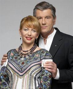 Ukrainian ex-president Viktor Yashenko with his wife ( beautiful  ukrainian embroidery),from Iryna