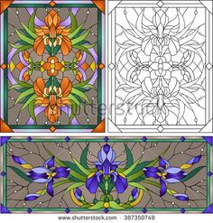 Beautiful garden flowers and bouton of Iris, floral vector composition. Set of stained glass window
