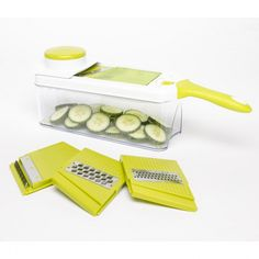 KSP Chef's Mate Mandoline Slicer and Grater - Set of 7 (White/Green) available for sale at the best price at Kitchen Stuff Plus your Choppers & Slicers store. Mandoline, Mandolin Slicer, Sliced Potatoes, Grater, Chef, Fruits And Veggies, Gadget, Beans, Favorite Recipes
