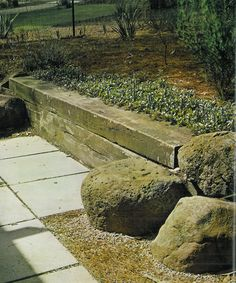 Great idea for merging sleepers and boulders to create both a retaining wall and a bench seat - from iconic Australian landscape architect Ellis Stone. House Landscape, Landscape Architecture, Landscape Design, Back Gardens, Small Gardens, Stone Deck, Concrete Stone, Concrete Blocks, Garden Retaining Wall