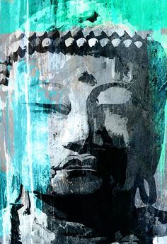 Extra Large BUDDHA zen modern interior Pop Art decor in calming green illustration 24x36