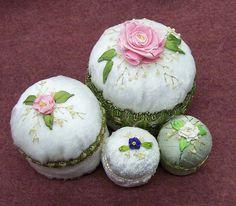 Silk Ribbon Embroidered Pincushions   Flickr - Photo Sharing!
