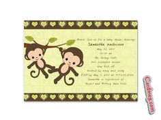 Baby Shower Invitations: Twins Baby Shower Invitations Double Monkey Hanging, Twins Baby Shower Invitations Design twin baby shower invitations quotes announcement twin baby shower invitations twin baby shower invitations shutterfly