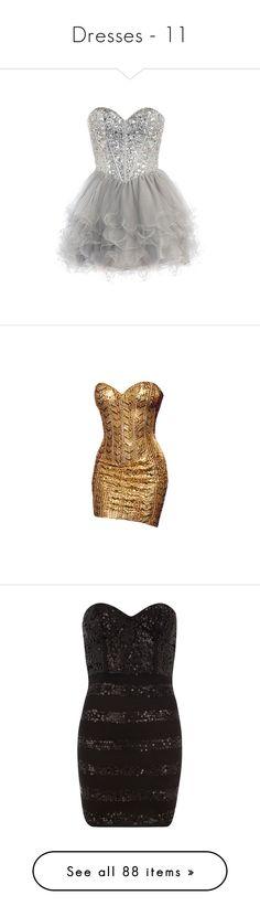 """Dresses - 11"" by vmelentyeva ❤ liked on Polyvore featuring dresses, vestidos, short dresses, mini dress, gowns, brown dress, black, sequin bustier, black cocktail dresses and strapless sequin dress"