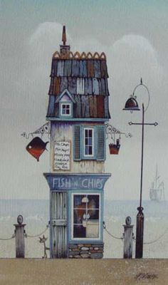 Gary Walton watercolour 'Fish N Chips'♥️♥️ - painting beginners Art And Illustration, Watercolour Illustration, Watercolor Fish, Watercolor Paintings, Building Art, House Drawing, Urban Sketching, Naive Art, Whimsical Art