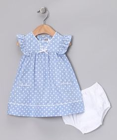 Blue & White Polka Dot Dery Dress & Diaper Cover - Infant by Alouette on zulily Frocks For Girls, Little Dresses, Little Girl Dresses, Girls Dresses, Baby Outfits, Toddler Outfits, Kids Outfits, Baby Dress Design, Baby Girl Dress Patterns