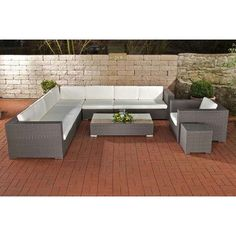 Lounge Möbel, Sitzgruppe, Sitzen, Grau, Balkon, Wohnzimmer, Terrassen,  Modernes