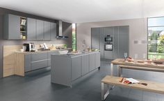 Aesthetics and Variety!  This Modular Kitchen fronts and units in the handle less LINE N range impress with outstanding variety. A total of 27 modern and finely crafted fronts as well as around 500 different cabinets are available. The planned end of run for LINE N kitchens can be varied in terms of design and appearance by adding end or front uprights.