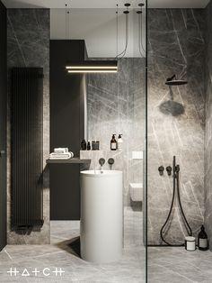 Image may contain: sink, indoor and wall Archi Design, Küchen Design, House Design, Bathroom Design Small, Modern Kitchen Design, Home Interior Design, Interior Architecture, Black Rooms, Design Moderne
