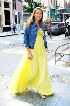 2016 -- Blake Lively in a yellow beaded maxi dress, a denim dress, and pumps.