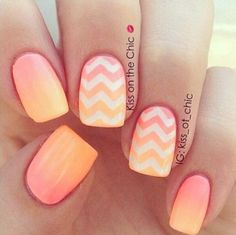 Here's a peach and orange ombre for a smooth and soothing Chevron nail art.