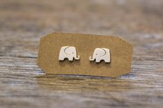 Unique Elephant, Chic Idea Silver Accessories by PIMTHA , Cute Stud Earring, Homemade and Handmade
