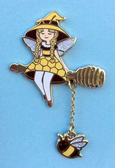 """sosuperawesome: """" Bee Witch Dangle Pin Jeileen Art on Etsy See our or tags """" Jacket Pins, Accesorios Casual, Cool Pins, Pin And Patches, Cute Jewelry, Jewlery, Pin Badges, Lapel Pins, Pin Collection"""