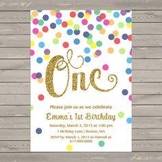 Rainbow Gold 1st Birthday Invitation Girl, Any Age Rainbow Dots and Gold Girl…