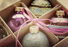 Pink christmas!!! Bebe'!!! Love these vintage pastel Christmas Ornaments!!!