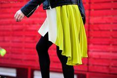 London – Street Life, neon, skirt, leather jacket