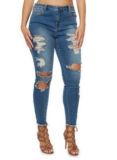 Plus Size Cello Distressed Skinny Jeans - 3870063152599