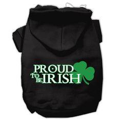 Proud to be Irish Screen Print Pet Hoodies Black Size Med (12)