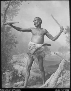 King, Henry, 1855-1923. Studio portrait of a man in a fighting pose, Australia, ca. 1887 [transparency]