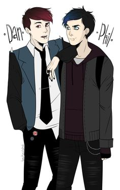 """Punks"" by bowtiewizard //  I love their sleek art style. Plus Dan and Phil are hot here."