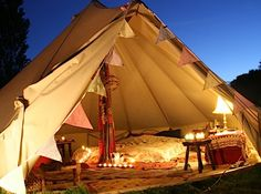 Bell Tents have been resurgent at UK festivals these past 5 years.  Offer them to your guests through a glamping tent company. Hey, we can help.